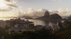 Time-lapse footage with solar flares of Rio, Sugarloaf mountain, and Botafogo Stock Footage
