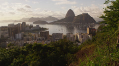 Tracking shot of Rio de Janeiro's Mountains and Guanabara Bay -shaky Stock Footage