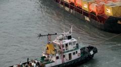 India Maharashtra District Mumbai 068 container ship docking close up Stock Footage