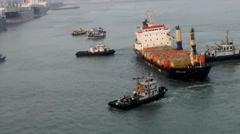 India Maharashtra District Mumbai 067 container ship arrival Stock Footage