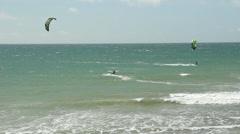 Kite Boarding At Malibu Beach Stock Footage