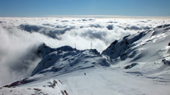 Skiing. Above the Clouds - stock footage