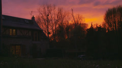 Sunset at a country cottage Stock Footage