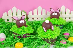 easter bunny cupcakes - stock photo