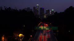 4k Time Lapse Los Angles Freeway At Night - stock footage