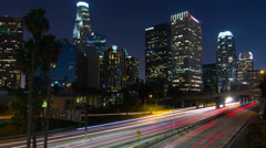 4k Ultra HD Time lapse City Freeway Traffic Downtown At Night - stock footage