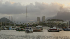 Pan of Guanabara Bay in Rio at dusk. Stock Footage