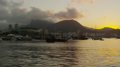 Static shot of Guanabara Bay at Rio at dusk. Stock Footage