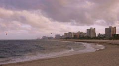 Kite Surfing at Dusk in Pompano Beach Florida Stock Footage