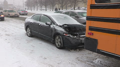 Car accident scene in winter snow storm Stock Footage