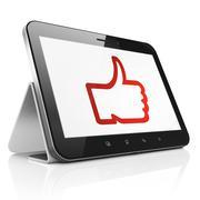 Social media concept: Like on tablet pc computer Stock Illustration
