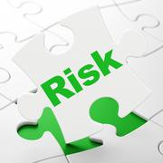 Stock Illustration of Finance concept: Risk on puzzle background