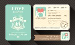 passport wedding invitation - stock illustration
