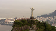 Stock Video Footage of Aerial shot from copter of famous statue of Christ.