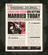 newspaper wedding invitation design template - stock illustration