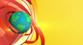 Rotating earth with red and orange circles on yellow background, loop Footage