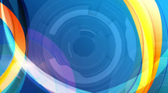 Animated circle in centre with orange and blue stripes on background, loop Stock Footage