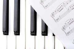 key synthesizer with note macro - stock photo