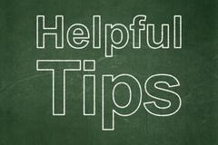 Education concept: Helpful Tips on chalkboard background - stock illustration