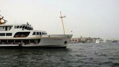 Bosporus, Eminonu, Istanbul; Domestic passenger ship is cruising. Stock Footage