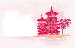 Old paper with japanese temple on abstract asian landscape Stock Illustration
