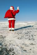 farewell santa claus - stock photo