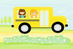 Children in school bus Piirros