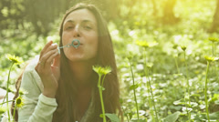 Vintage Young Woman Enjoying Spring Weather Park Bubbles HD Stock Footage
