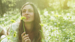 Beautiful Woman Holding Flower Forest Sprig Nature Awakening HD Stock Footage