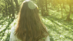 Cute Female Walking Forest Smiling Nature Relaxation HD Stock Footage