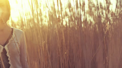 Attractive Female Model Smiling Nature Sun Flare Cane HD Stock Footage