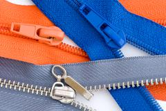 Sewing zipper close up on white Stock Photos