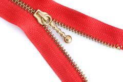 red sewing zipper - stock photo