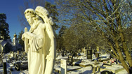 Stock Video Footage of Orthodox cemetery, Church, winter.