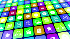 Moving mobile applications splash screen Stock Footage