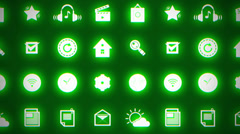 Moving social media icons glowing green neon Stock Footage