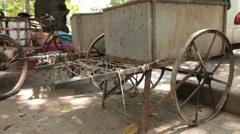 Closeup of vintage metal vehicle Stock Footage