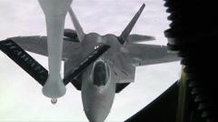 F-22 Raptor aerial refueling, The Hawaii Air National Guards Sentry Aloha Team Stock Footage
