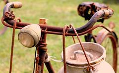 Rusty milkman's bike with drum Stock Photos