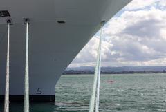 bow of cruise ship in rotorua nz - stock photo