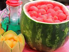 watermelon party to celebrate summer with mint - stock photo