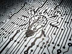 Finance concept: circuit board with Light Bulb Stock Illustration