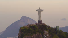 Tracking footage of Rio's Christ Redentor Stock Footage