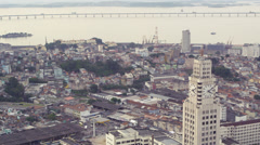 An aerial view of Rio de Janeiro's city. Central do Brasil clearly visible. - stock footage