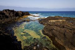 froth coastline in lanzarote spain - stock photo
