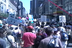 Anti-Bush March August 29, 2004 - stock footage