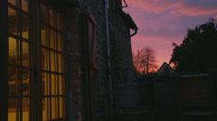 Room light on, sunset Stock Footage