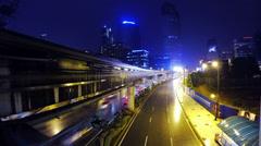 KUALA LUMPUR - JANUARY 2014: Rainy night traffic time lapse. For editorial use. Stock Footage