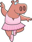 hippo ballerina - stock illustration