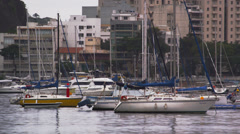 Static shot of moored boats at a marina in Rio de Janeiro, Brazil Stock Footage